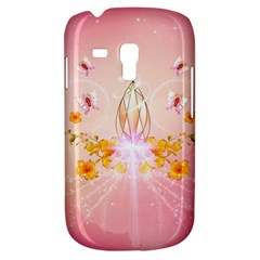 Wonderful Flowers With Butterflies And Diamond In Soft Pink Colors Samsung Galaxy S3 Mini I8190 Hardshell Case by FantasyWorld7