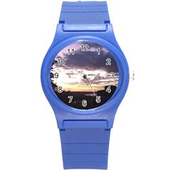 Sunset Over The Valley Round Plastic Sport Watch (s) by canvasngiftshop