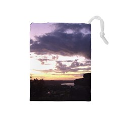 Sunset Over The Valley Drawstring Pouches (medium)