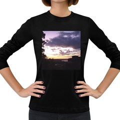 Sunset Over The Valley Women s Long Sleeve Dark T Shirts by canvasngiftshop