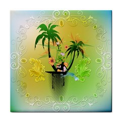 Surfing, Surfboarder With Palm And Flowers And Decorative Floral Elements Tile Coasters by FantasyWorld7
