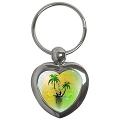 Surfing, Surfboarder With Palm And Flowers And Decorative Floral Elements Key Chains (heart)  by FantasyWorld7