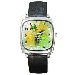 Surfing, Surfboarder With Palm And Flowers And Decorative Floral Elements Square Metal Watches by FantasyWorld7