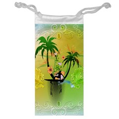 Surfing, Surfboarder With Palm And Flowers And Decorative Floral Elements Jewelry Bags by FantasyWorld7