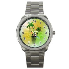 Surfing, Surfboarder With Palm And Flowers And Decorative Floral Elements Sport Metal Watches by FantasyWorld7