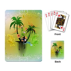 Surfing, Surfboarder With Palm And Flowers And Decorative Floral Elements Playing Card by FantasyWorld7