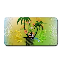 Surfing, Surfboarder With Palm And Flowers And Decorative Floral Elements Medium Bar Mats by FantasyWorld7
