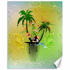Surfing, Surfboarder With Palm And Flowers And Decorative Floral Elements Canvas 11  X 14   by FantasyWorld7