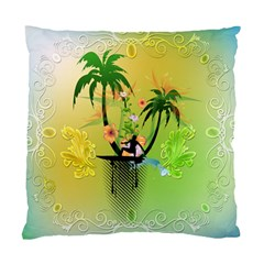 Surfing, Surfboarder With Palm And Flowers And Decorative Floral Elements Standard Cushion Case (one Side)  by FantasyWorld7