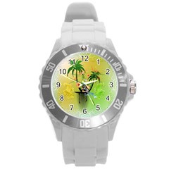 Surfing, Surfboarder With Palm And Flowers And Decorative Floral Elements Round Plastic Sport Watch (l) by FantasyWorld7