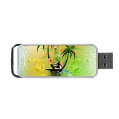 Surfing, Surfboarder With Palm And Flowers And Decorative Floral Elements Portable Usb Flash (two Sides) by FantasyWorld7