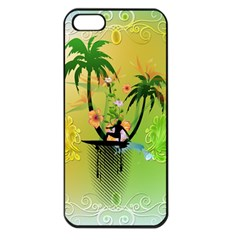 Surfing, Surfboarder With Palm And Flowers And Decorative Floral Elements Apple Iphone 5 Seamless Case (black) by FantasyWorld7