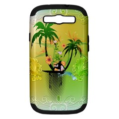Surfing, Surfboarder With Palm And Flowers And Decorative Floral Elements Samsung Galaxy S Iii Hardshell Case (pc+silicone) by FantasyWorld7