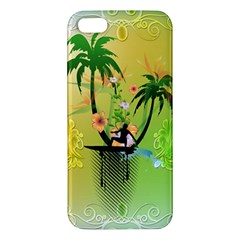 Surfing, Surfboarder With Palm And Flowers And Decorative Floral Elements Apple Iphone 5 Premium Hardshell Case by FantasyWorld7