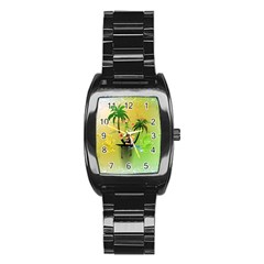 Surfing, Surfboarder With Palm And Flowers And Decorative Floral Elements Stainless Steel Barrel Watch by FantasyWorld7