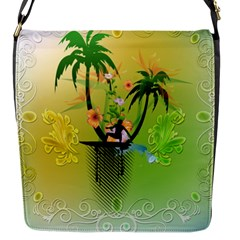 Surfing, Surfboarder With Palm And Flowers And Decorative Floral Elements Flap Messenger Bag (s) by FantasyWorld7