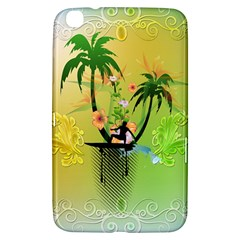 Surfing, Surfboarder With Palm And Flowers And Decorative Floral Elements Samsung Galaxy Tab 3 (8 ) T3100 Hardshell Case  by FantasyWorld7