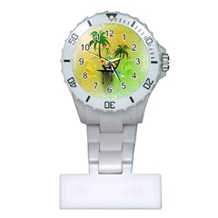 Surfing, Surfboarder With Palm And Flowers And Decorative Floral Elements Nurses Watches by FantasyWorld7