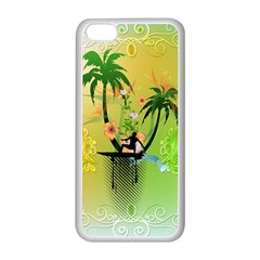 Surfing, Surfboarder With Palm And Flowers And Decorative Floral Elements Apple Iphone 5c Seamless Case (white) by FantasyWorld7