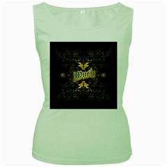 Music The Word With Wonderful Decorative Floral Elements In Gold Women s Green Tank Tops by FantasyWorld7