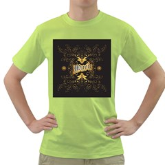 Music The Word With Wonderful Decorative Floral Elements In Gold Green T-shirt by FantasyWorld7
