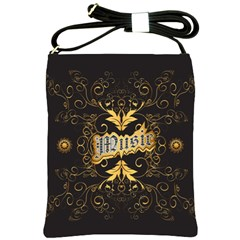 Music The Word With Wonderful Decorative Floral Elements In Gold Shoulder Sling Bags by FantasyWorld7
