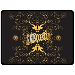 Music The Word With Wonderful Decorative Floral Elements In Gold Fleece Blanket (large)  by FantasyWorld7