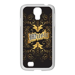 Music The Word With Wonderful Decorative Floral Elements In Gold Samsung Galaxy S4 I9500/ I9505 Case (white) by FantasyWorld7