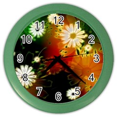 Awesome Flowers In Glowing Lights Color Wall Clocks by FantasyWorld7