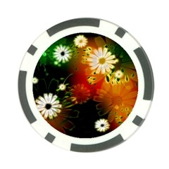 Awesome Flowers In Glowing Lights Poker Chip Card Guards by FantasyWorld7