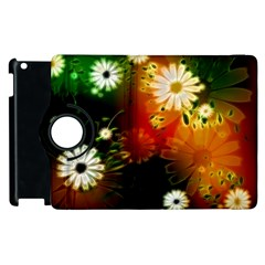 Awesome Flowers In Glowing Lights Apple Ipad 2 Flip 360 Case by FantasyWorld7
