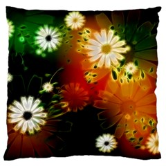Awesome Flowers In Glowing Lights Large Flano Cushion Cases (two Sides)  by FantasyWorld7