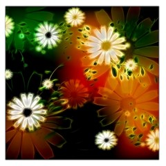 Awesome Flowers In Glowing Lights Large Satin Scarf (square)