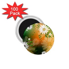 Beautiful Flowers With Leaves On Soft Background 1 75  Magnets (100 Pack)  by FantasyWorld7