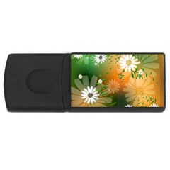 Beautiful Flowers With Leaves On Soft Background Usb Flash Drive Rectangular (4 Gb)  by FantasyWorld7