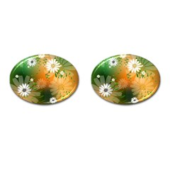 Beautiful Flowers With Leaves On Soft Background Cufflinks (oval) by FantasyWorld7