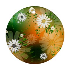 Beautiful Flowers With Leaves On Soft Background Round Ornament (two Sides)