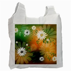 Beautiful Flowers With Leaves On Soft Background Recycle Bag (one Side) by FantasyWorld7