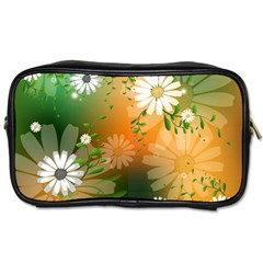 Beautiful Flowers With Leaves On Soft Background Toiletries Bags 2 Side by FantasyWorld7