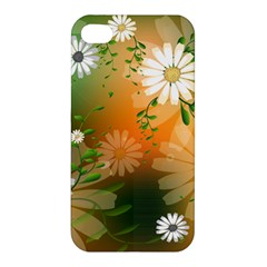 Beautiful Flowers With Leaves On Soft Background Apple Iphone 4/4s Hardshell Case by FantasyWorld7