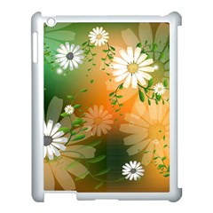 Beautiful Flowers With Leaves On Soft Background Apple Ipad 3/4 Case (white) by FantasyWorld7
