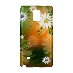 Beautiful Flowers With Leaves On Soft Background Samsung Galaxy Note 4 Hardshell Case by FantasyWorld7