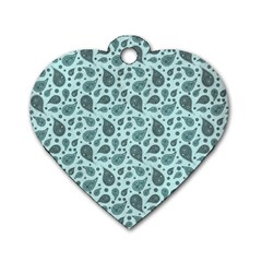 Vintage Paisley Aqua Dog Tag Heart (one Side) by MoreColorsinLife