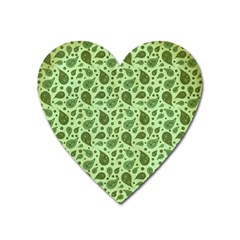 Vintage Paisley Green Heart Magnet by MoreColorsinLife