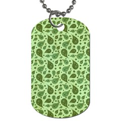 Vintage Paisley Green Dog Tag (two Sides) by MoreColorsinLife