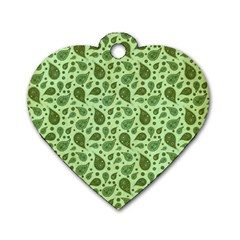 Vintage Paisley Green Dog Tag Heart (one Side) by MoreColorsinLife