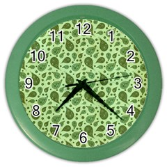 Vintage Paisley Green Color Wall Clocks by MoreColorsinLife