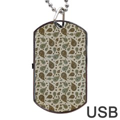 Vintage Paisley Grey Dog Tag Usb Flash (one Side) by MoreColorsinLife