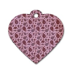 Vintage Paisley Pink Dog Tag Heart (one Side) by MoreColorsinLife
