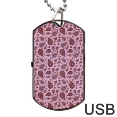 Vintage Paisley Pink Dog Tag Usb Flash (two Sides)  by MoreColorsinLife